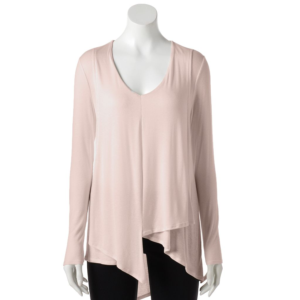 Petite Jennifer Lopez Draped Asymmetrical Top