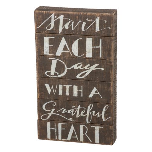 """Grateful Heart"" Box Sign Wall Decor"