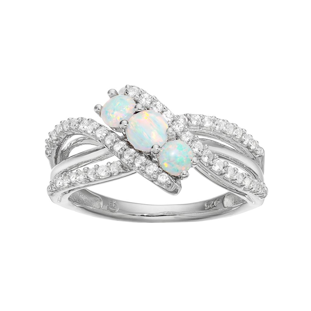 Sterling Silver Lab-Created Opal & White Sapphire 3-Stone Ring
