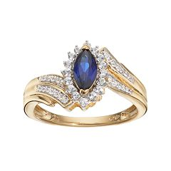 14k Gold Over Silver Lab-Created Blue & White Sapphire Marquise Ring