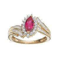 14k Gold Over Silver Lab-Created Ruby & White Sapphire Marquise Ring