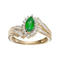 14k Gold Over Silver Simulated Emerald & Lab-Created White Sapphire Marquise Ring
