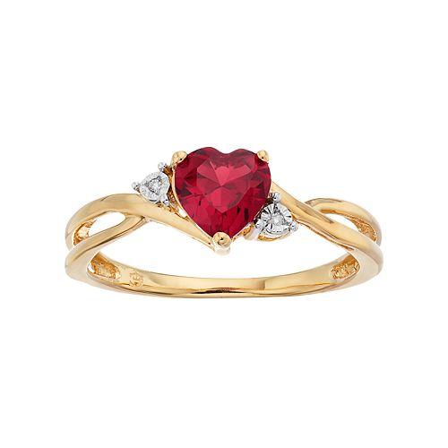 10k Gold Garnet & Diamond Accent Swirl Heart Ring