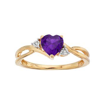 10k Gold Amethyst & Diamond Accent Swirl Heart Ring