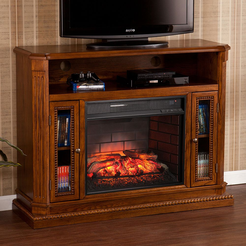 Brass-tone hardware gives this Devlin infrared electric fireplace TV stand an antique-inspired look