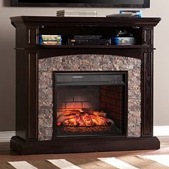 Blackburn Faux Stone Convertible Infrared Electric Fireplace