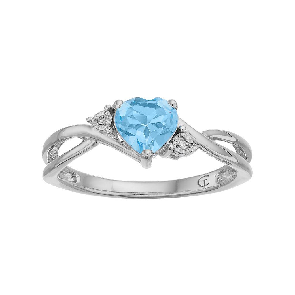 10k White Gold Simulated Aquamarine & Diamond Accent Swirl Heart Ring