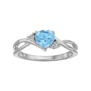 10k White Gold Simulated Aquamarine & Diamond Accent Swirl Heart Ring