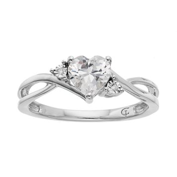 10k White Gold Lab-Created White Sapphire & Diamond Accent Swirl Heart Ring