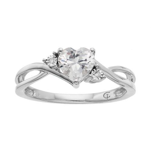 10k White Gold Lab-Created White Sapphire & Diamond Accent Swirl Heart Ring