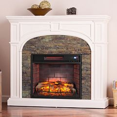 Knapp White Faux Stone Infrared Electric Fireplace