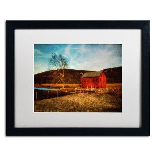 """Trademark Fine Art """"Red Barn at Twilight"""" Matted Black Framed Wall Art"""