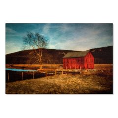 Trademark Fine Art 'Red Barn at Twilight' Canvas Wall Art