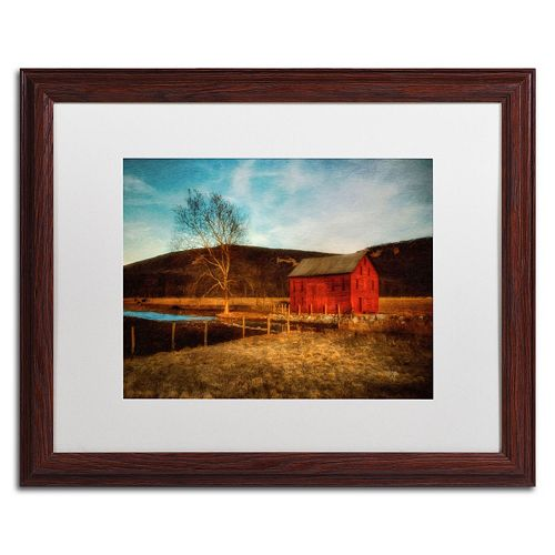 "Trademark Fine Art ""Red Barn at Twilight"" Matted Wood Finish Framed Wall Art"