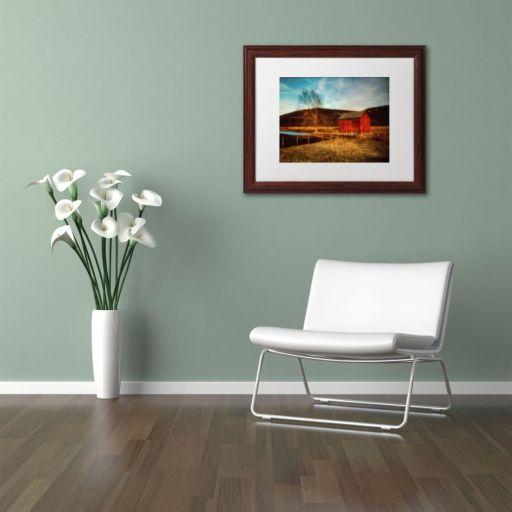 "Trademark Fine Art ""Red Barn at Twilight"" Matted Wood Finish Framed Wall Art"