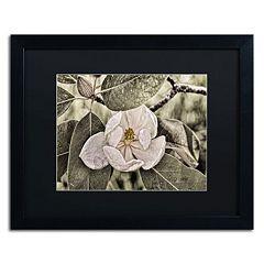 Trademark Fine Art 'White Magnolia' Matted Black Framed Wall Art