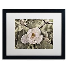 Trademark Fine Art 'White Magnolia' Matted Black Framed Wall Art