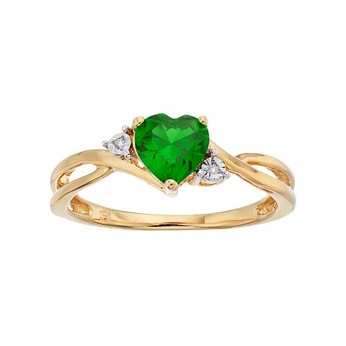 10k Gold Simulated Emerald & Diamond Accent Swirl Heart Ring