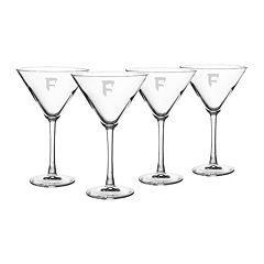 Cathy's Concepts 4 pc Monogram Spooky Martini Glass Set
