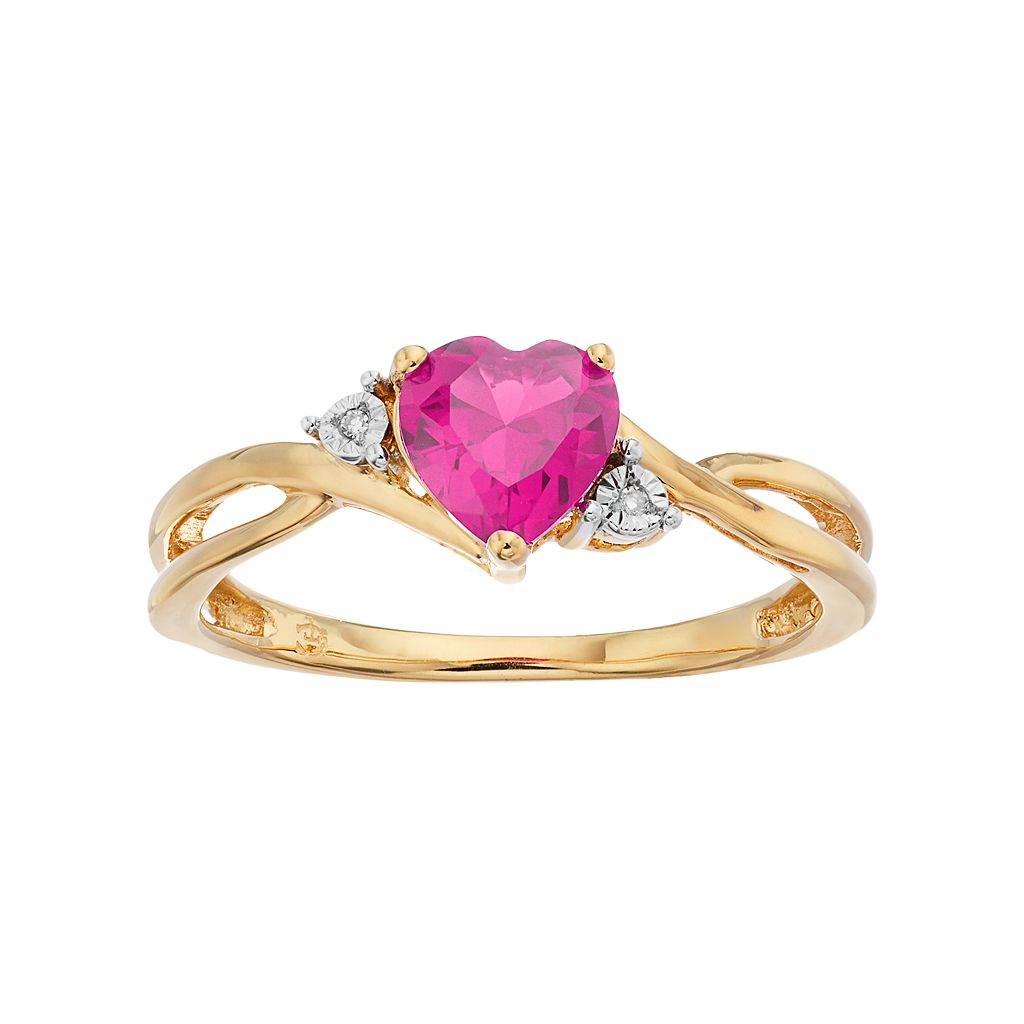 10k Gold Lab-Created Pink Sapphire & Diamond Accent Swirl Heart Ring