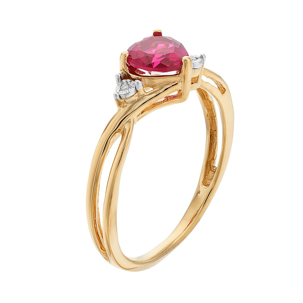 10k Gold Lab-Created Ruby & Diamond Accent Swirl Heart Ring