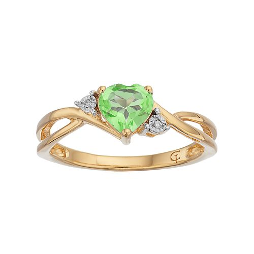 10k Gold Peridot & Diamond Accent Swirl Heart Ring