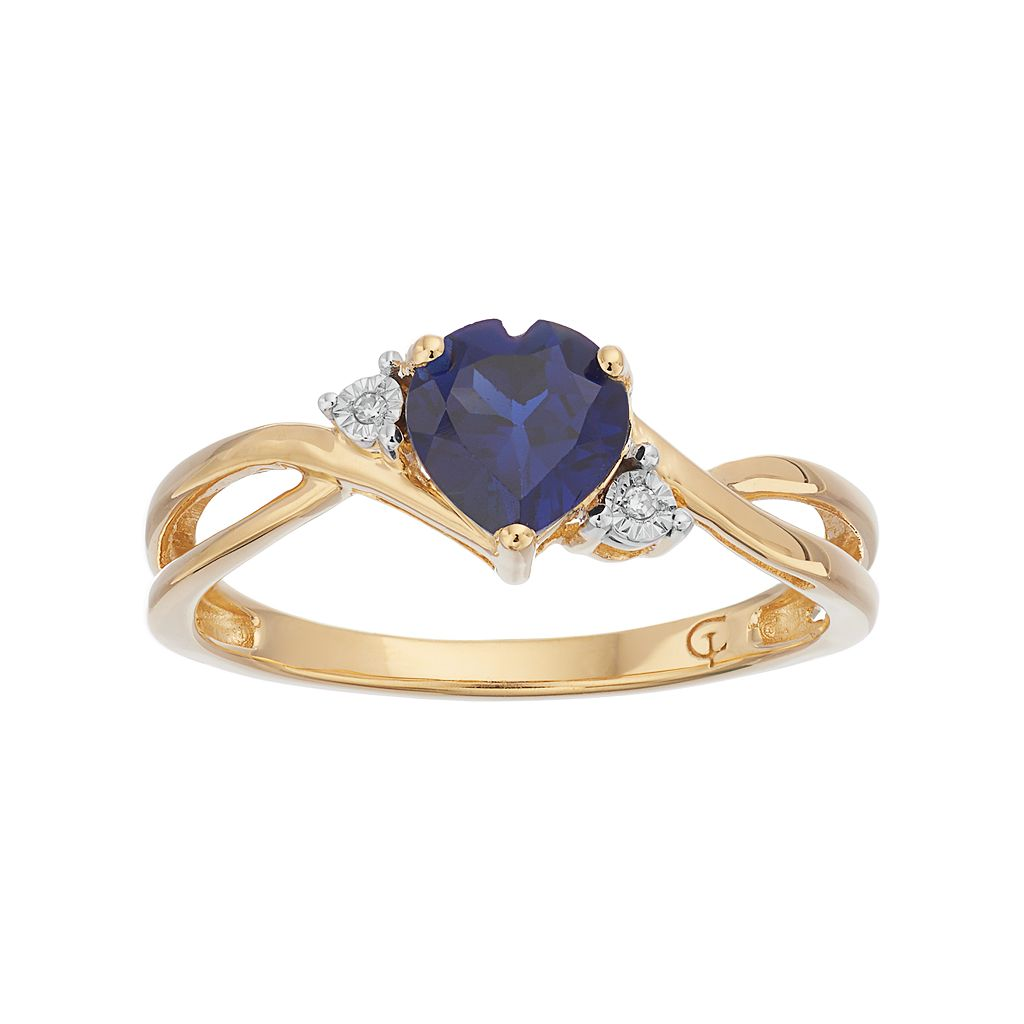 10k Gold Lab-Created Sapphire & Diamond Accent Swirl Heart Ring
