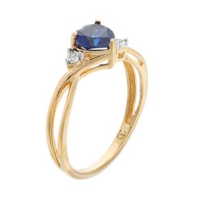 10k Gold Lab-Created Sapphire & Diamond Accent Swirl Heart Ring
