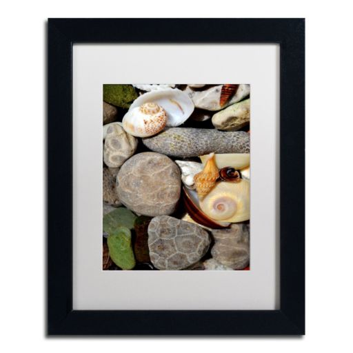 "Trademark Fine Art ""Petoskey Stones ll"" Matted Black Framed Wall Art"