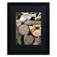 Trademark Fine Art 'Petoskey Stones ll' Matted Black Framed Wall Art