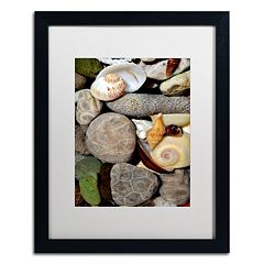 Trademark Fine Art 'Petoskey Stones ll' Matted Black Framed Wall Art