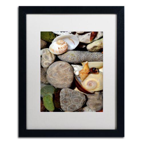 "Trademark Fine Art ""Petoskey Stones ll"" Matted Black Framed Wall Art"