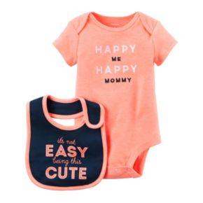 Baby Girl Carter's Embroidered Bodysuit & Graphic Bib Set