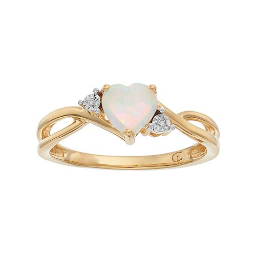 10k Gold Lab-Created Opal & Diamond Accent Swirl Heart Ring