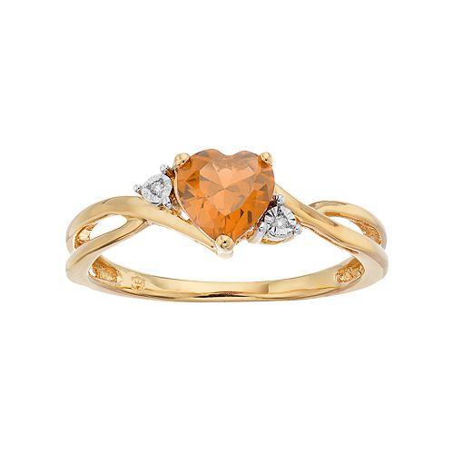 10k Gold Citrine & Diamond Accent Swirl Heart Ring