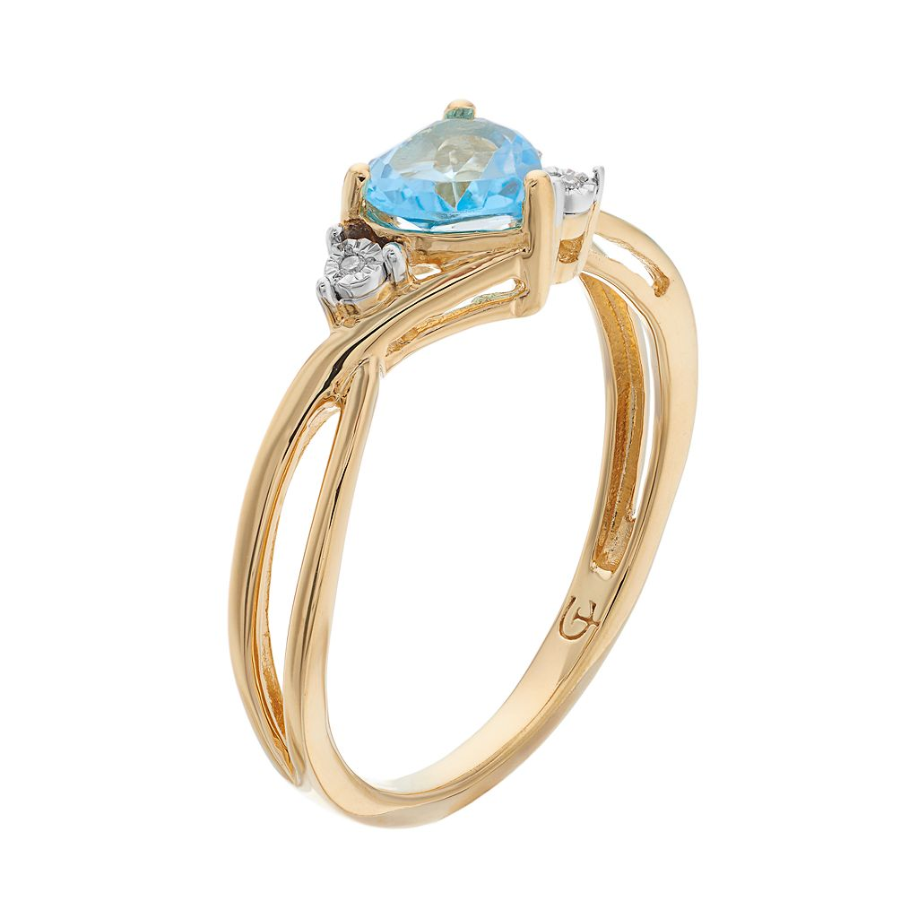 10k Gold Blue Topaz & Diamond Accent Swirl Heart Ring