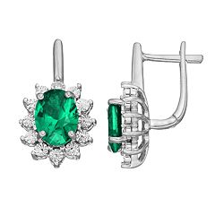 Sterling Silver Simulated Emerald & Diamond Accent Oval Starburst Drop Earrings