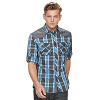 Men's Rock & Republic Shoulder-Patch Plaid Button-Down Shirt