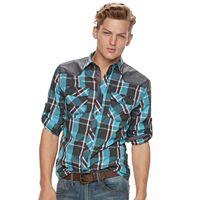 Men's Rock & Republic Shoulder-Patch Plaid Button-Down Shirt