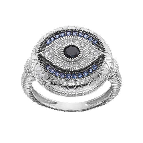 Sterling Silver Blue Glass & Cubic Zirconia Evil Eye Ring