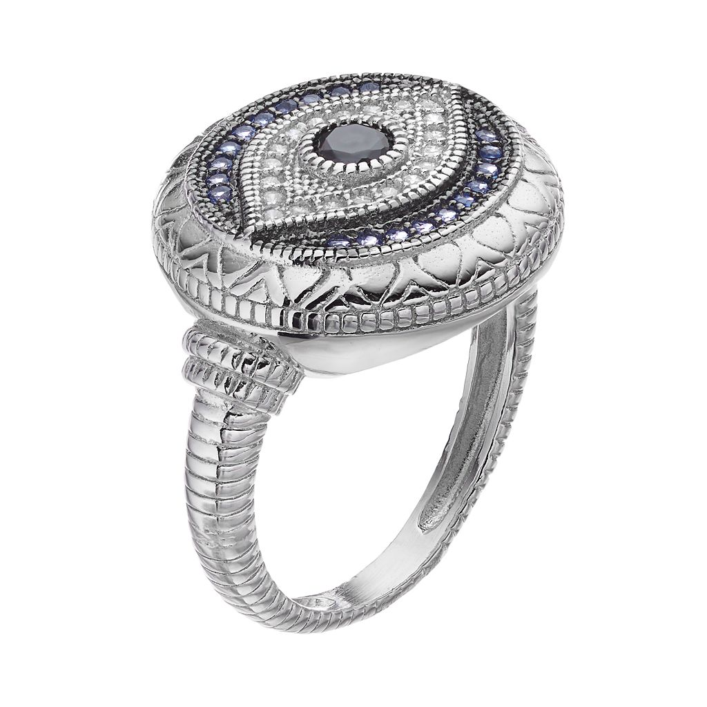 Sterling Silver Blue Glass & Cubic Zirconia Evil Eye Ring