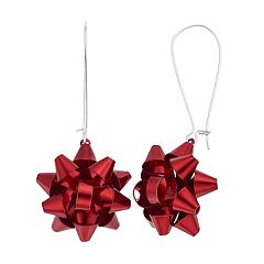 Red Bow Nickel Free Drop Earrings