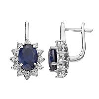 Sterling Silver Lab-Created Sapphire & Diamond Accent Oval Starburst Drop Earrings