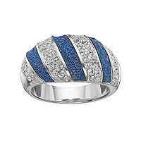 Brilliance Silver Plated Glitter Diagonal Striped Ring with Swarovski Crystals