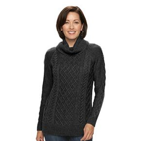Women's Croft & Barrow® Cable-Knit Cowlneck Sweater