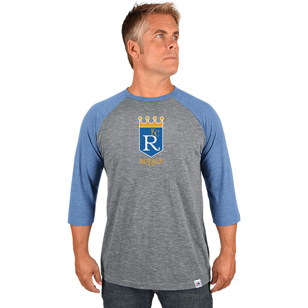 Men's Majestic Kansas City Royals Cooperstown Raglan Tee