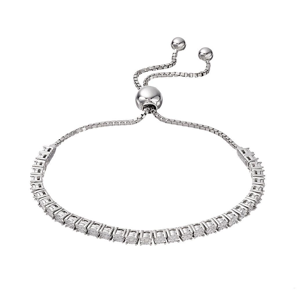 Sterling Silver Diamond Accent Bolo Bracelet