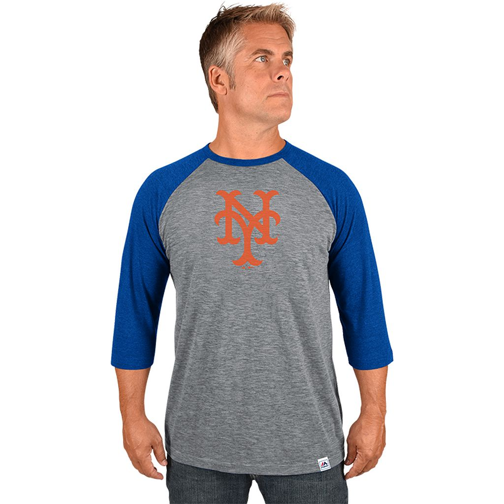 Men's Majestic New York Mets Cooperstown Raglan Tee