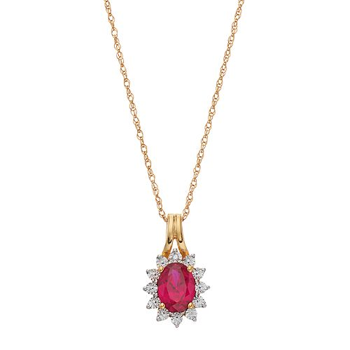14k Gold Over Silver Lab-Created Ruby Starburst Pendant Necklace