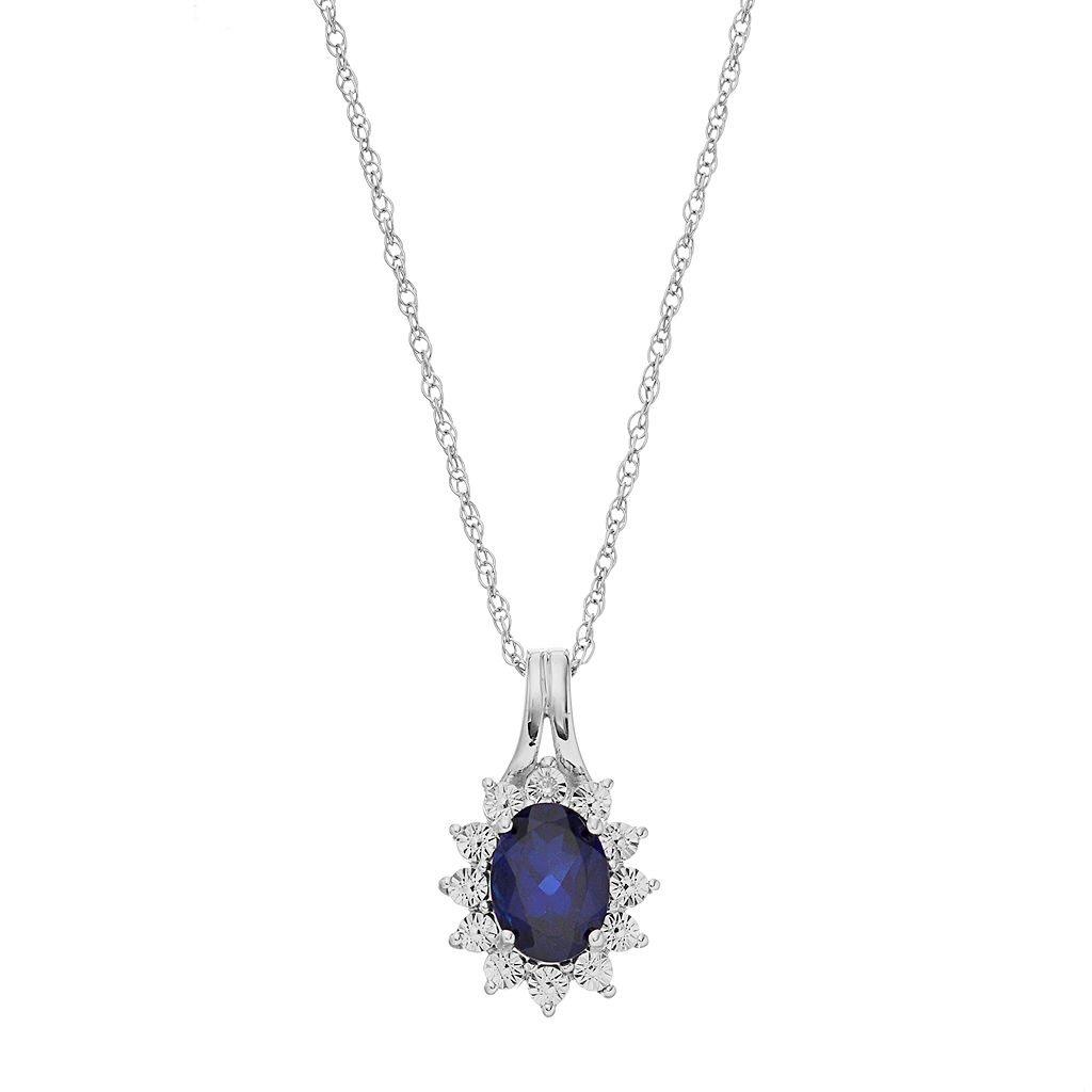 Sterling Silver Lab-Created Sapphire Starburst Pendant Necklace